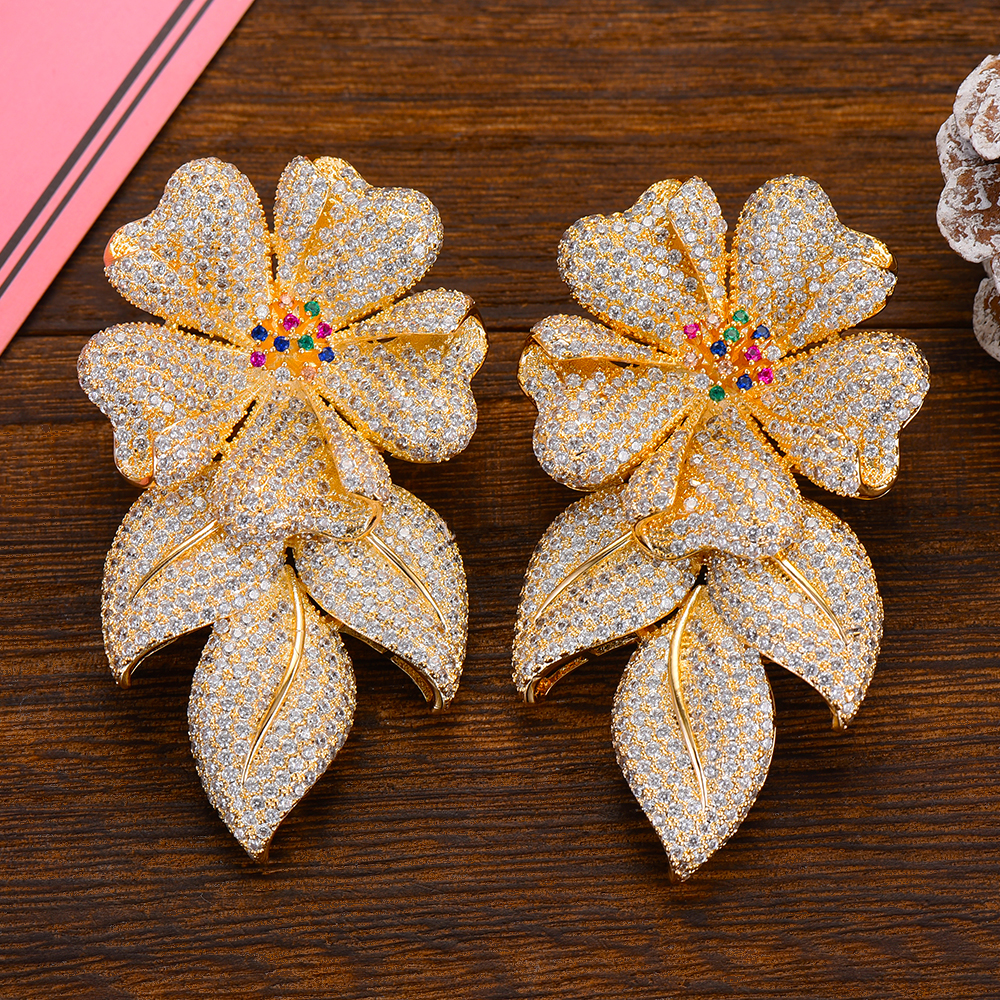 GODKI fleurs de luxe boucles d'oreilles pendantes africaines à la mode Zircon cubique fête de fiançailles indien boucles d'oreilles en or pour les femmes 2019