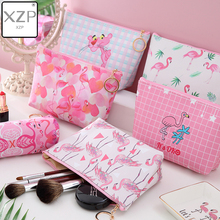 XZP Portable Pink Flamingo Makeup Bags Coin Storage Case Travel Make up PU Pouch Cute Cosmetic Bag For Women Toiletry Wash Bags
