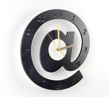 12inch @ Clock black and white color art clock wooden modern brief mute wall clock silent pocket watch for Home Decoration