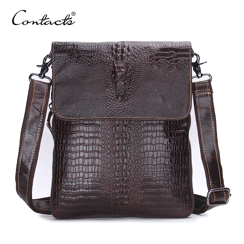 CONTACT S Fashion Designer Genuine Leather Crossbody Bags For Men High Quality Handmade Crocodile Leather Small