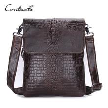 CONTACT'S Modedesigner Echtes Leder Umhängetaschen Für Männer Hohe Qualität Handgemachten Krokodil Leder Kleine Umhängetasche