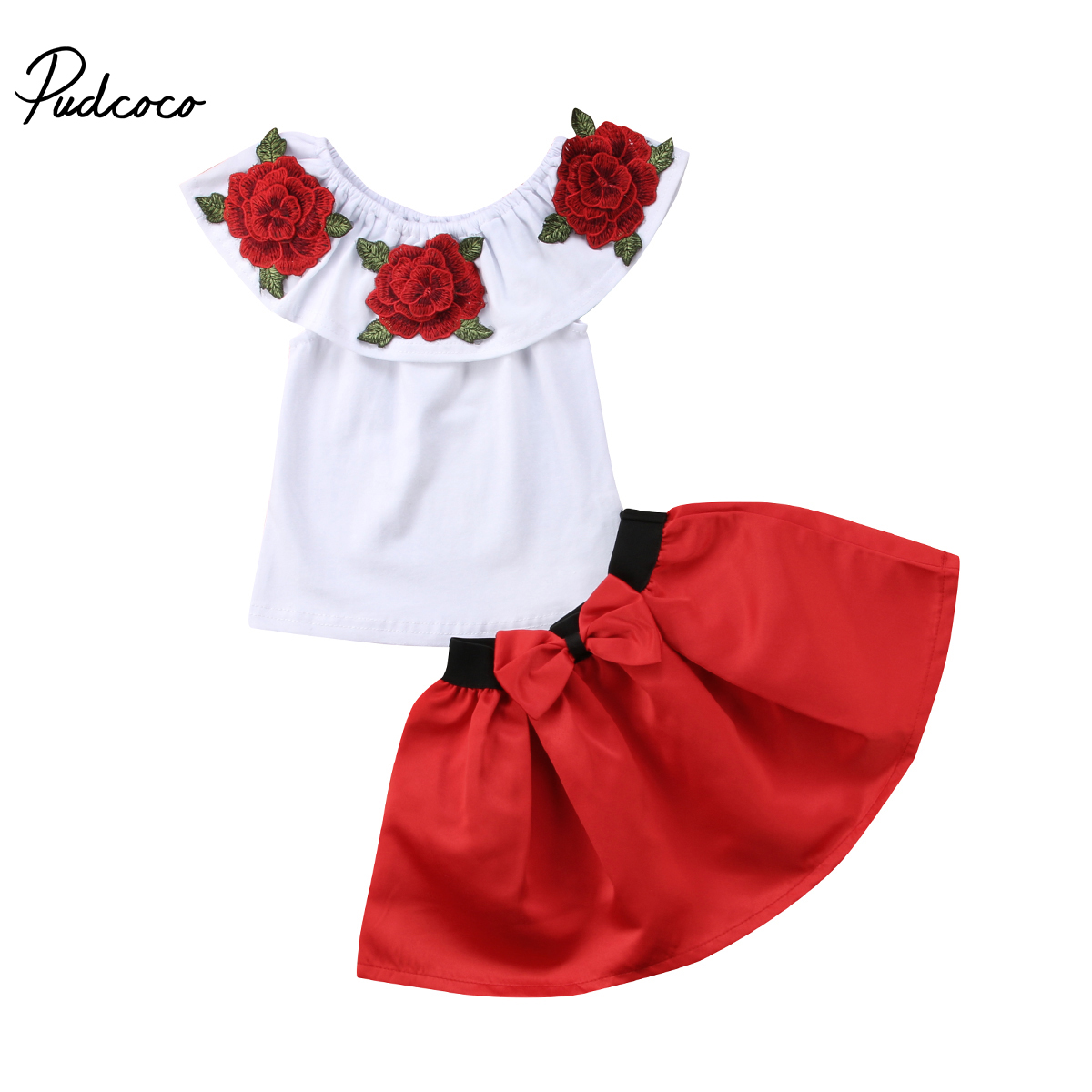 2PCS Children Baby Girl Summer Clothes Off shoulder 3D Embroidery Flower Tops+Bow Tutu Skirt Outfits Princess Toddler Kids Set