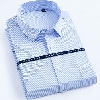 New Arrived 2018 work men shirts Brand short sleeve striped / twill shirt dress white male 4xl Mens Shirt casual Slim