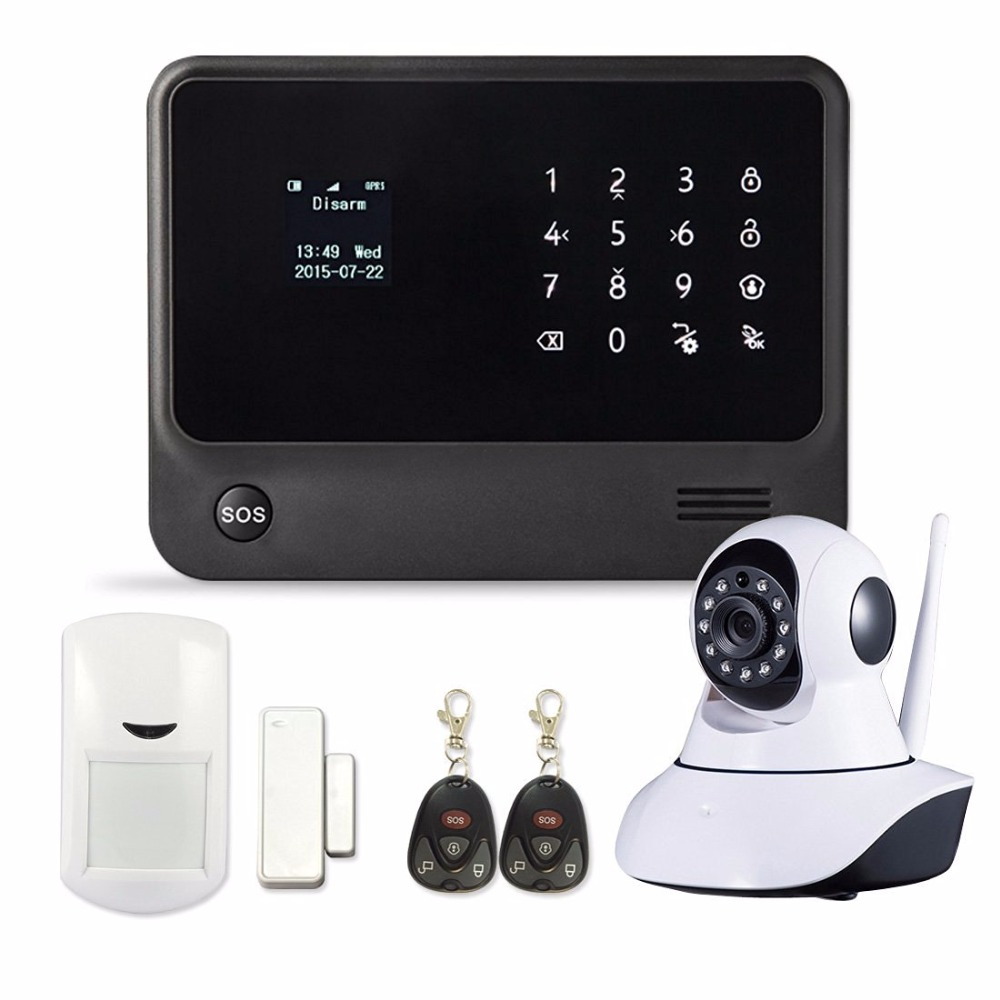 Android IOS APP Touch Screen WIFI Wireless Alarm System LCD Display House Alarm GSM with font