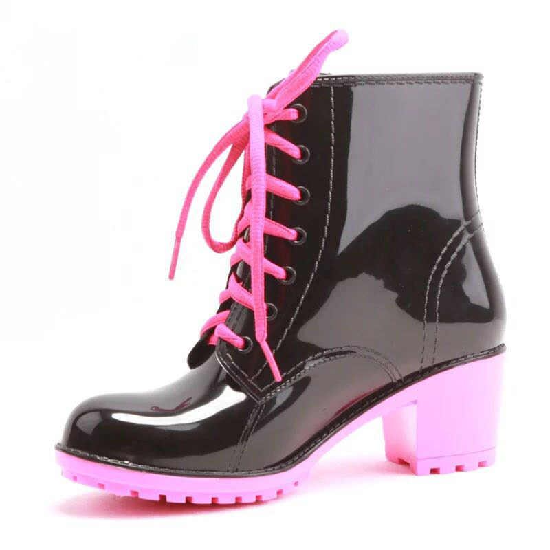 LZJ Ön fermuar japanned deri ayak bileği çizmeler kadın ayakkabıları tıknaz topuklu bayan chelsea patik kış kısa botines 2019 Yeni