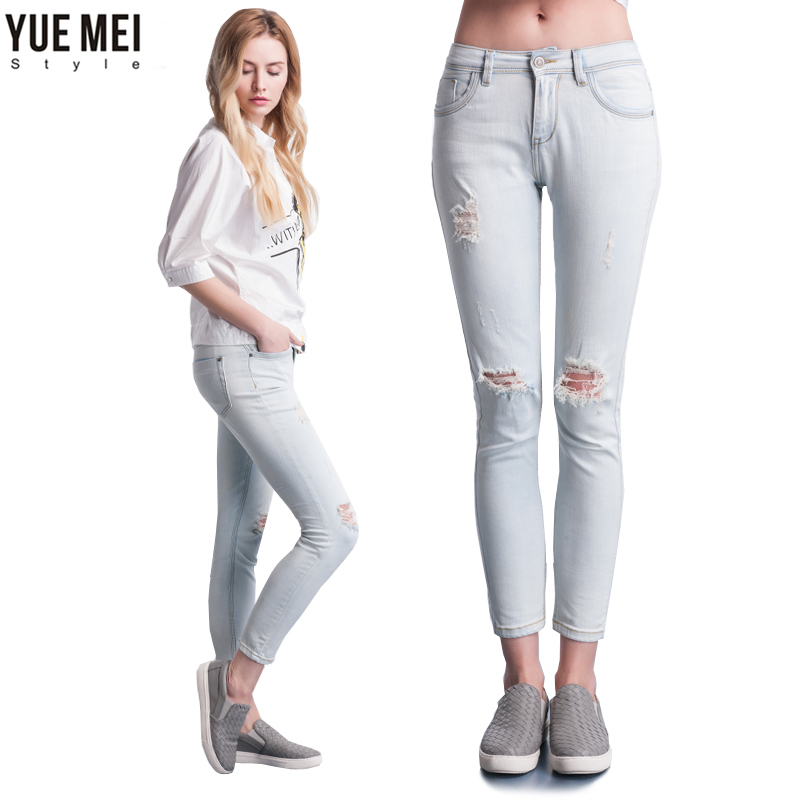 Fashion Ripped Hole Capris Mid Waist Elastic Washed Cotton Vintage Skinny Jeans Pencil Pants Femme