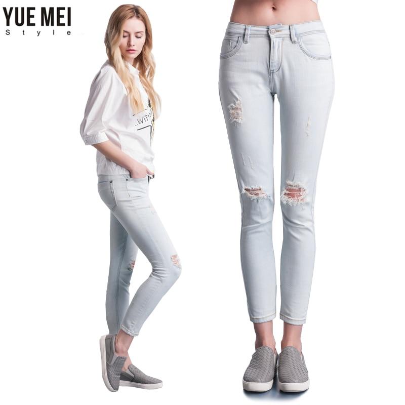 Fashion Ripped Hole Capris Mid Waist Elastic Washed Cotton Vintage Skinny Jeans Pencil Pants Femme