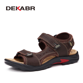DEKABR Summer Big Size Men's Sandals British Fashion Genuine Leather Beach Shoes Mens Casual Massage Non-Slip  Slippers Flats