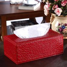 Стильная тканевая коробка из искусственной кожи крокодила, чехол для салфеток, бумажный держатель, кожаный чехол, украшение стола для дома, автомобиля