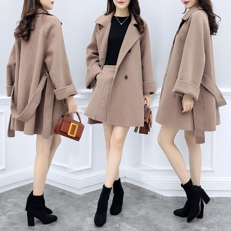 Spring Women Coat Women Jacket And Skirts Women Fashion Clothing Tops And Skirts Korean Style Clothing Woolen Sets ELASTIC Waist