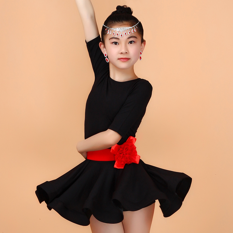 2016 New 3-16Y Child Girl Kids Latin Dance Dress Purple/Black/Blue/Red Competition Ballroom Dancing Tango Clothes Salsa Costumes