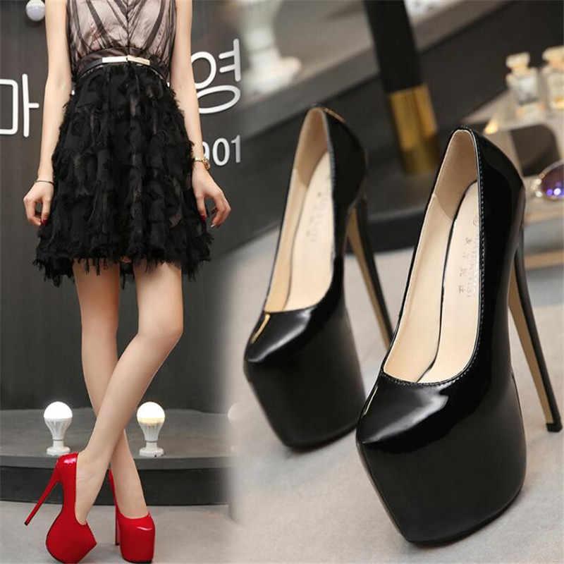 35-44 ขนาดผู้หญิงรองเท้าส้นสูง 18 ซม.รองเท้ากระชับ 8 ซม.แพลทฟอร์มรองเท้างานแต่งงานเซ็กซี่หนังรองเท้า zapatos