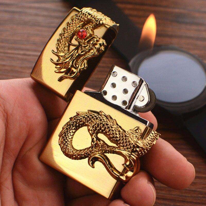 Dragón Retro tallado de Metal encendedores molinos fuego alivio garra encendedor Gas inflable butano fumador mejor regalo