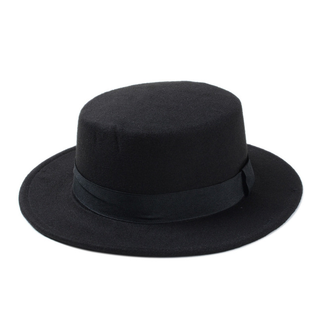 a7f15b33567 10 Color Men Women Felt Fedora Hat Flat Dome Oval Top Bowler Porkpie Sun Hat  With Black Ribbon Band 25-in Fedoras from Apparel Accessories on  Aliexpress.com ...