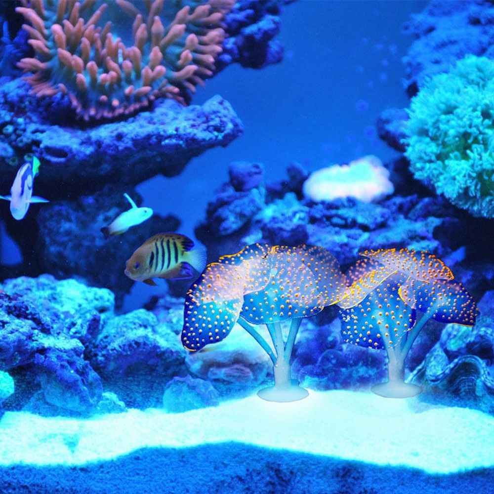 Aquarium fluorescent luminous coral tank landscaping Creative USB jellyfish software DIY suction cup Soft silicone coral
