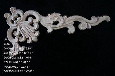 J8- 30x20cm Wood Carved Corner Onlay Applique Unpainted Frame Door Decal Working Carpenter Flower Decoration
