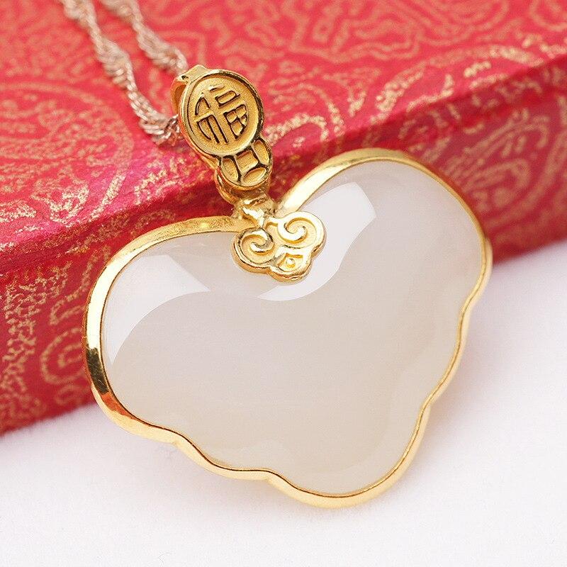 2019 offre spéciale de vrais fabricants vendant des bijoux en or en forme de coeur Hetian Jade pendentif vent chinois 24 K Alo Bats Fu Sautoir