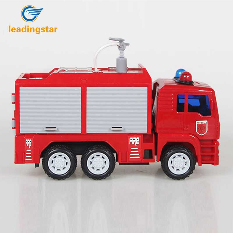 Leadingstar Children Inertial Car Toys Fire Engine Model Simulation Water Spray Fire Fighting Truck push button for manual zk35