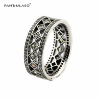 Pandulaso Vintage Fascination Fashion Silver Rings for Women & Men Clear CZ Silver 925 Jewelry Fine Charm Wedding Rings Jewelry