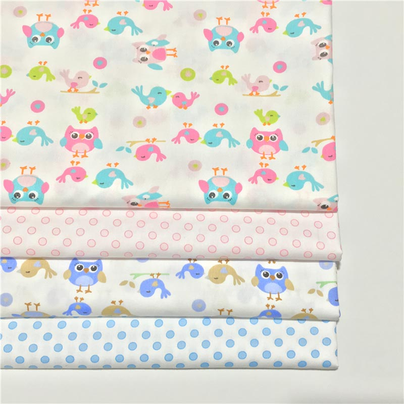 100% cotton twill cloth PINK BLUE cartoon owl birds dots fabric for DIY crib cot sheets bedding cushion patchwork handwork decor