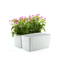 T4U Plastic Rectangular Self Watering Window Box with Water Level Indicator White Modern Decorative Planter Pot Set of 2