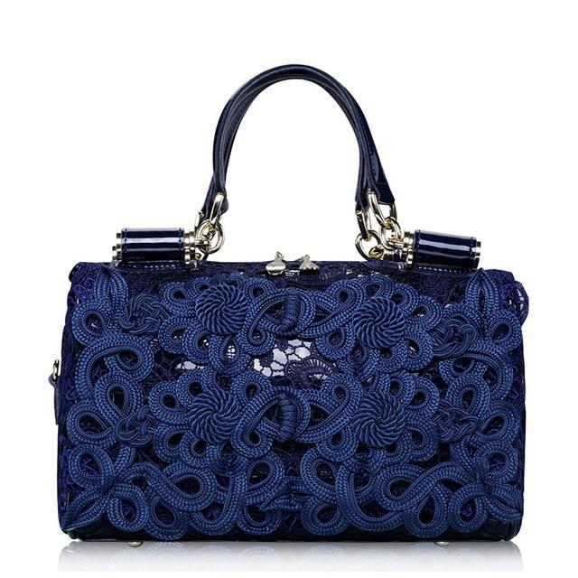 Wilicosh European American Style Handbag Genuine Leather Lace Floral Evening Bags Women Messenger Bags Satchel Tote Bolsa HC215