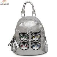 DORANMI Cat Printed Schoolbag Women's Backpack 2019 Leather Holographic Backpacks Female Back Shoulder Bag Mochila DJB355