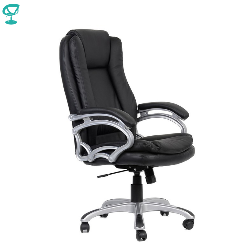 95169 Black Office Chair Barneo K-146 Eco-leather High Back Chrome Armrests With Leather Straps Free Shipping In Russia