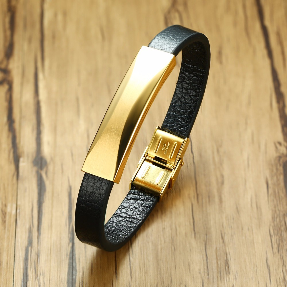 Gents Personalised Leather Message Bracelet with Gold Tone Steel Tag Wristband Men Jewelry Pulseira Braslet 8.26 Inch
