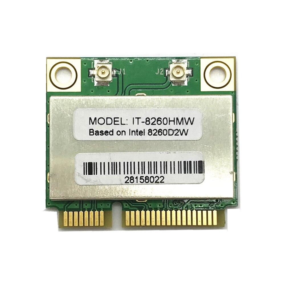 New Dual Band Wireless-AC 8260 Intel IT-8260HMW 8260D2W 2.4G/5Ghz 802.11ac 867Mbps MINI PCI-E 2x2 WiFi Card