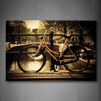 Framed Wall Art Picture Canal Bridge Bike Town Tree Canvas Print Architecture Posters With Wooden Frames For Living Room