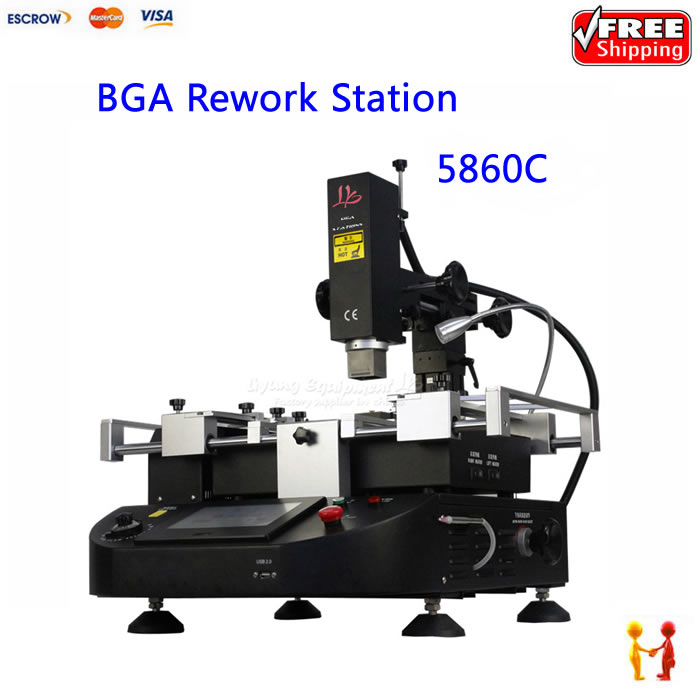 Electric soldering station touch screen hot air 3 zones Infrared bga rework machine zm5860C K-type thermocouple shuttle star sp380iitouch screen hot air bga rework station sp 380ii free tax to russia