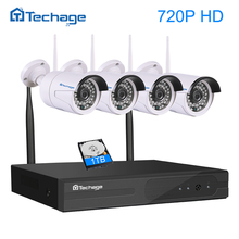 Techage 4CH 1080P Wireless NVR Wifi CCTV System Set 1MP/1.3MP/2MP Wi-fi IP Camera Outdoor Video Security DIY Kit P2P Plug&Play