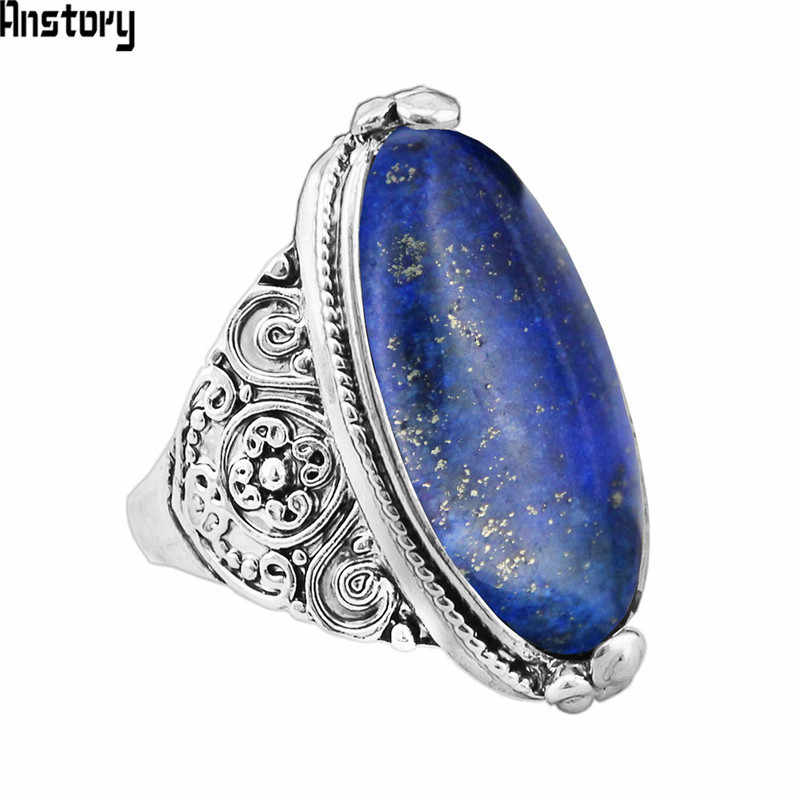 Irregular Lapis Lazuli Rings Flower Band Natural Stone Antique Silver Plated Fashion Jewelry TR664
