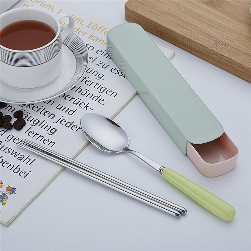 2019 New 2PCS Set Stainless Steel Upscale Dinnerware Flatware Cutlery Spoon Chopsticks travel Portable Tableware Restaurant @C
