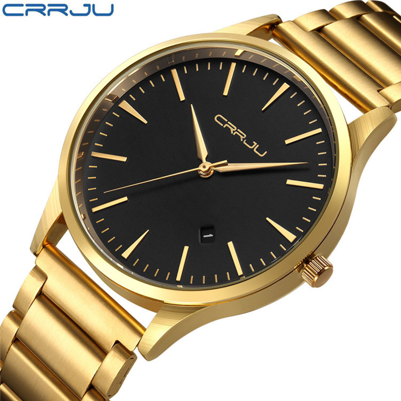CJ-2135-g Watch Men Gold Watches Business Luxury Man Clock Stainless Steel Round Men's Watches 2018 with Date Water Resistant цена и фото