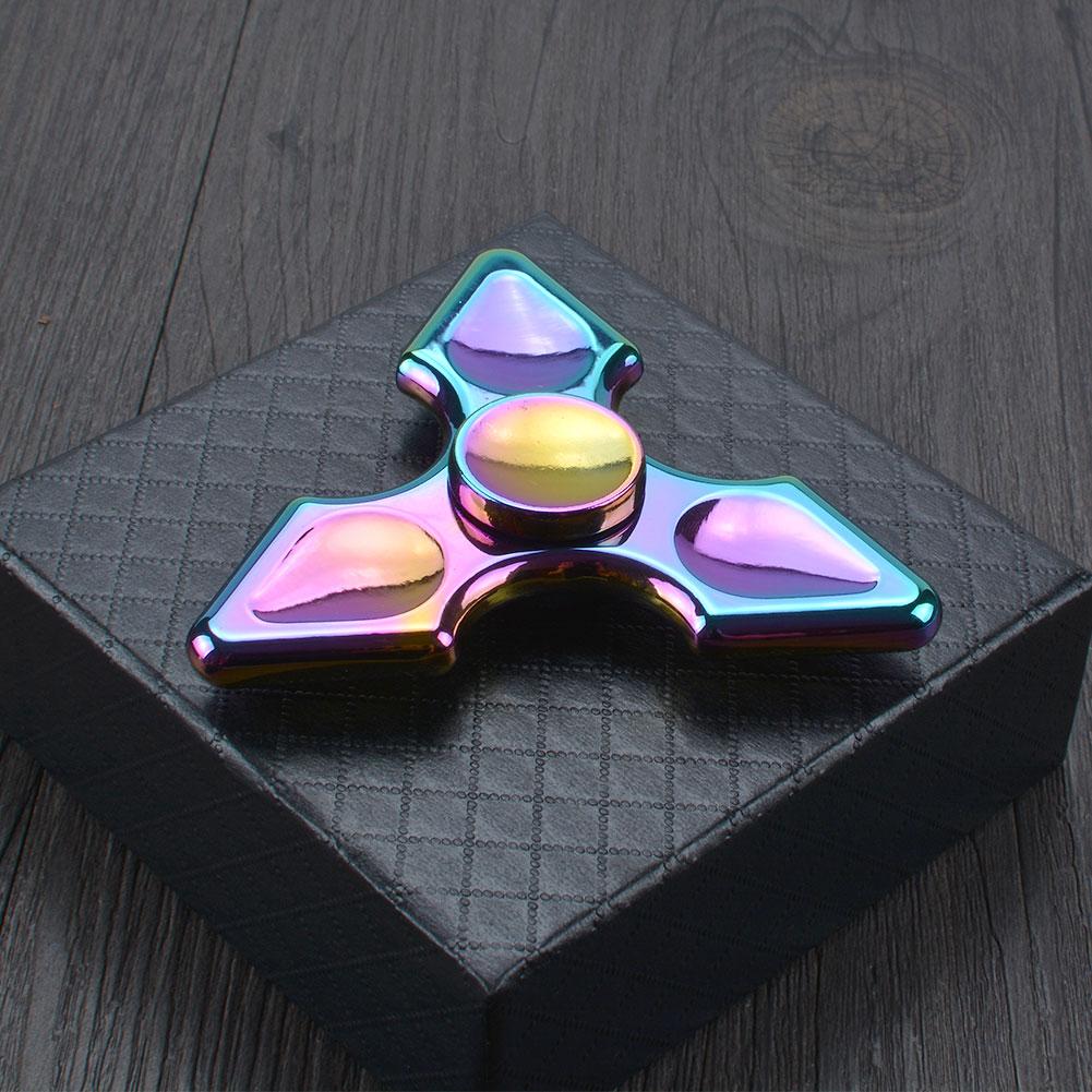Rainbow Tri Fidget Hand Spinner Alloy Finger Desk Focus Stress Relief Fidget Toys
