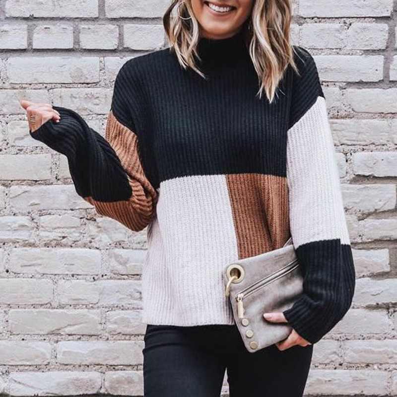 С длинным рукавом пуловер с круглым вырезом рубашка женская одежда черный, белый цвет КОРИЧНЕВЫЙ блуза со вставкой вязанные свитера Топы Повседневное свободные уличная