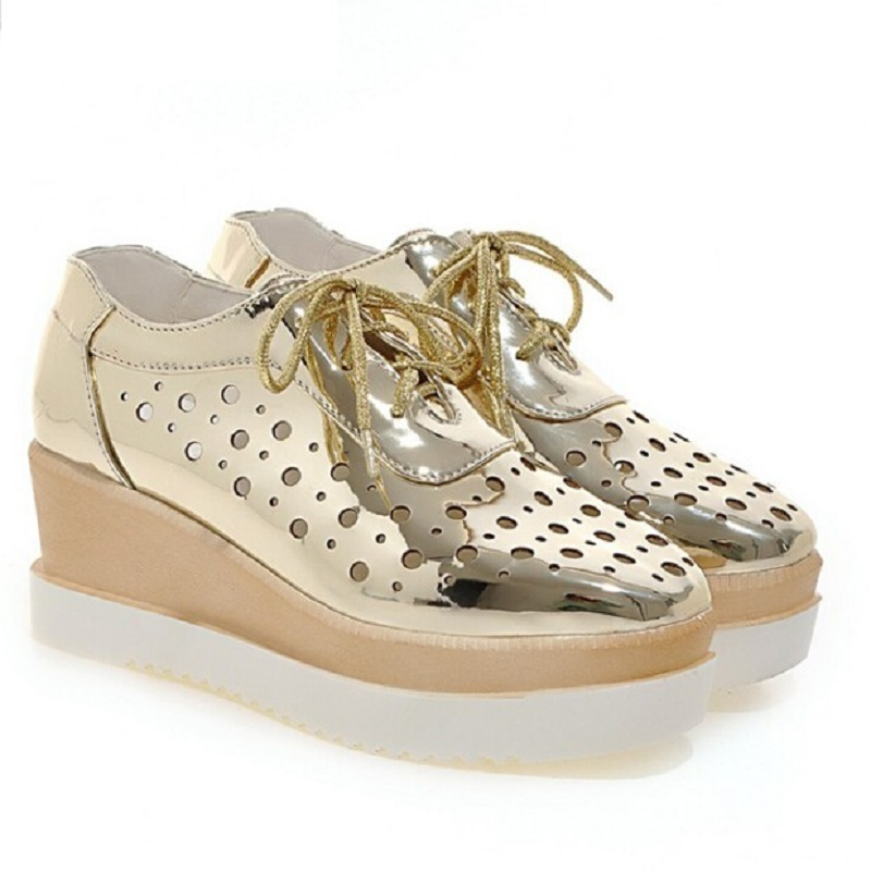 New Gold+Sliver+Blue+Pink Women's Platform Wedges Sandals Fashion Lacing Cutout Breathable Shoes Woman Casual US 4.5~10.5 phyanic 2017 gladiator sandals gold silver shoes woman summer platform wedges glitters creepers casual women shoes phy3323