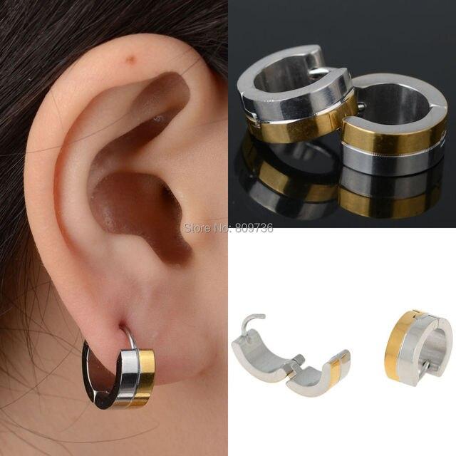 Punk Mens Women Golden 316l Stainless Steel Huggie Hoop Earrings Gauges Ear Jewelry Gift High Quailty