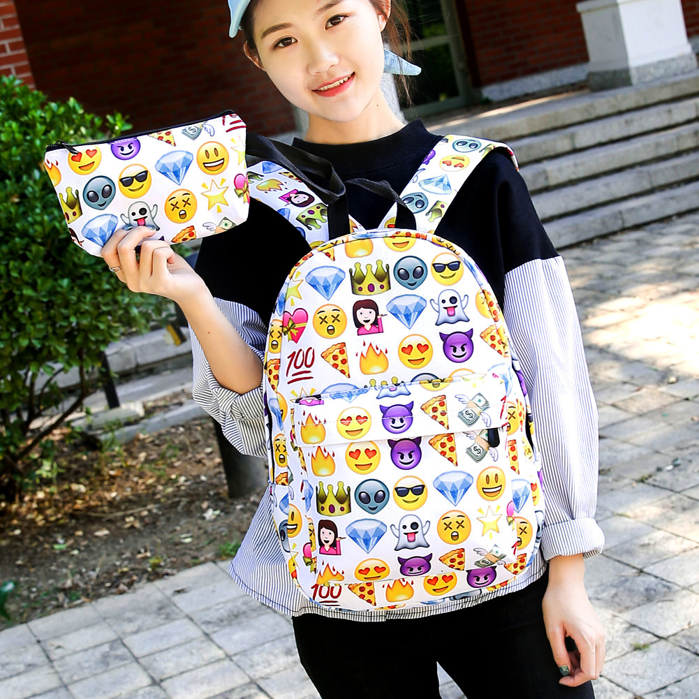 2pcs Cool Kids Cute 3D Smile Emoji Printing Backpack Child Ransel School Mochila Backpacks Bookbag Printed