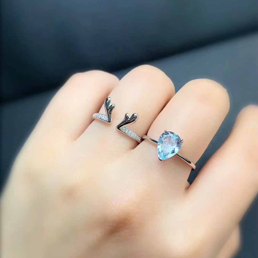 Fine 925 Sterling Silver Deer Antlers Open Ring Fashion Girls 2pcs Set Ring with Natural Aquamarine Gems Women Bridal Set Rings