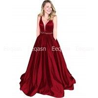 vestidos de gala A Line Long Prom Dresses with Pockets 2019 V Neck Sleeveless Burgundy Royal Blue Prom Dress Party for Women