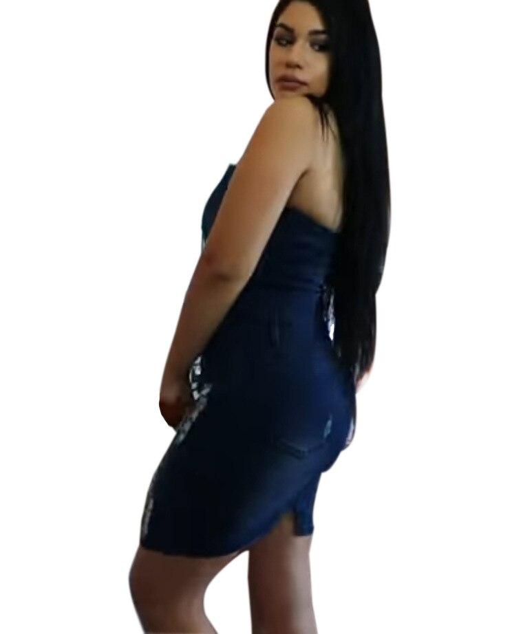 2018 Delgado arnés vaquero bolso cadera vestido Sexy mujer azul Delgado Jeans vestidos de una sola pieza vaquero vintage - 3