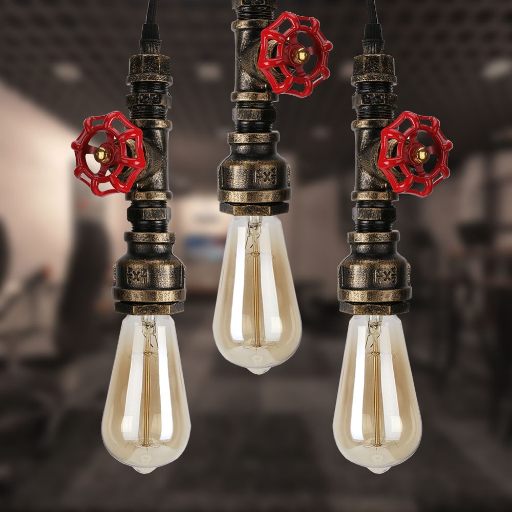 E27 220v Rustic Industrial Pendant Lights Vintage Lamp Water Pipe Hanging Light Loft Lamp For Home Lighting Decor e27 220v rustic industrial pendant lights vintage lamp water pipe hanging light loft lamp for home lighting decor