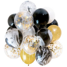 21pcs Gold Black Marble Confetti Balloons Wedding Birthday Party Decoration Baby Shower Photography Props Backdrop Supplies,B