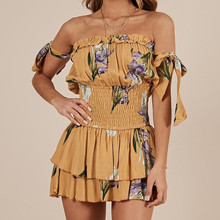 ddd3b7554ae feitong Floral Printting Cocktail Party Pencil Midi Bodycon Bandage Rompers  Womens