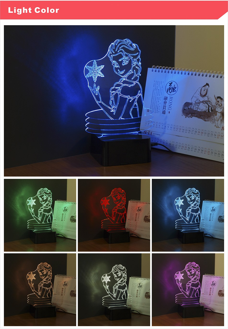 CNHIDEE 3d Visual Elsa Anna Lamp LED Touch Night Lights as Home Decor Creative Gifts for Friends Children Kids (3)