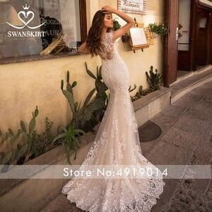 Image 3 - Odpinany pociąg suknia ślubna 2020 Sexy 2 w 1 syrenka Swanskirt aplikacje koronki kryształowy pas suknia ślubna vestido de noiva LZ07