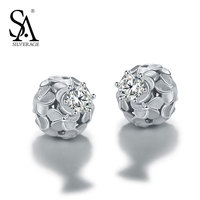 SA SILVERAGE 925 Sterling Silver Stud Earrings For Women AAA CZ Flowers Ball New Classic Design